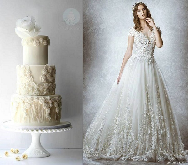 Bas relief rosette wedding cake by Shawna McGreevy, inspired by Zuhair Murad gown