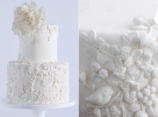 Bas relief wedding cake by Maggie Austin left, Viva La Tarta right
