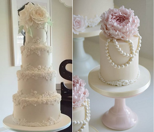 Bas relief wedding cakes by Amelie's Kitchen left, Cotton and Crumbs right