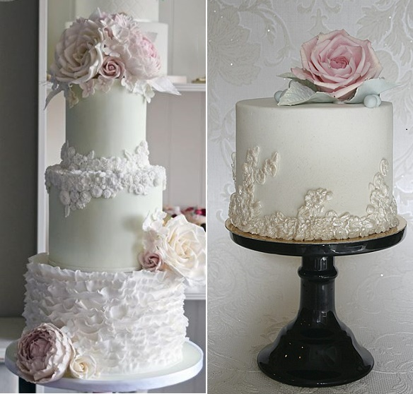 Bas relief wedding cakes by Amelie's Kitchen left, Sanna's Tartor right