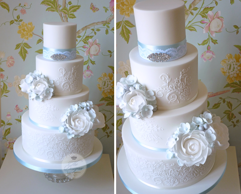 Blue and white wedding cake by The Designer Cake Co
