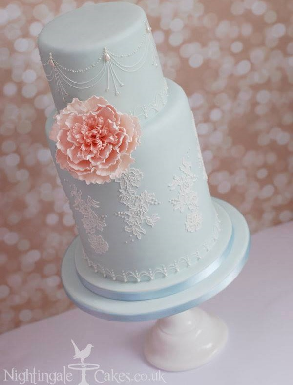 Blue lace wedding cake by Nightingale Cakes