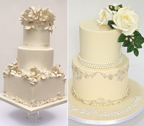 Ivory tiered cakes with bas relief decor by Cakes by Krishanthi (left, Zosia Zacharia Photography), and by Celebrate with Cake right