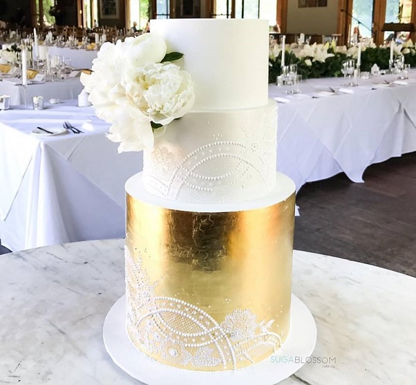 Gold and white lace wedding cake by Sugablossom Cakes