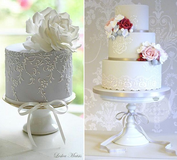 Lace stencilled cakes by Leslea Matsis left, The Designer Cake Co right