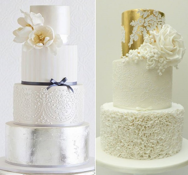 Metallics and lace wedding cakes by Faye Cahill left, Scrumdiddly right
