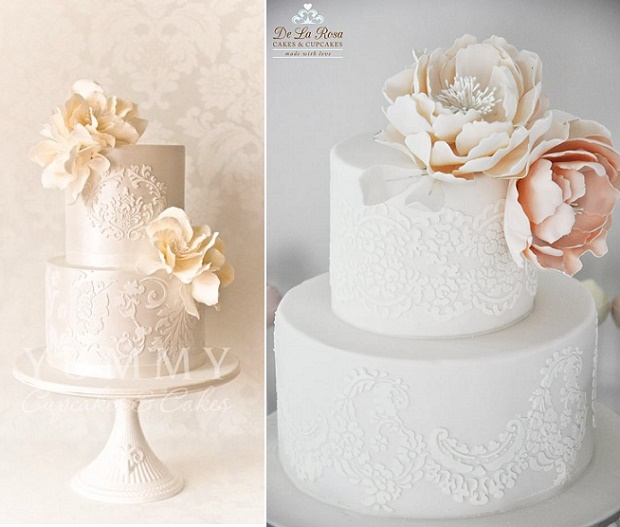 Peach lace wedding cakes by Yummy Cupcakes  and Cakes left, De La Rosa Cakes right