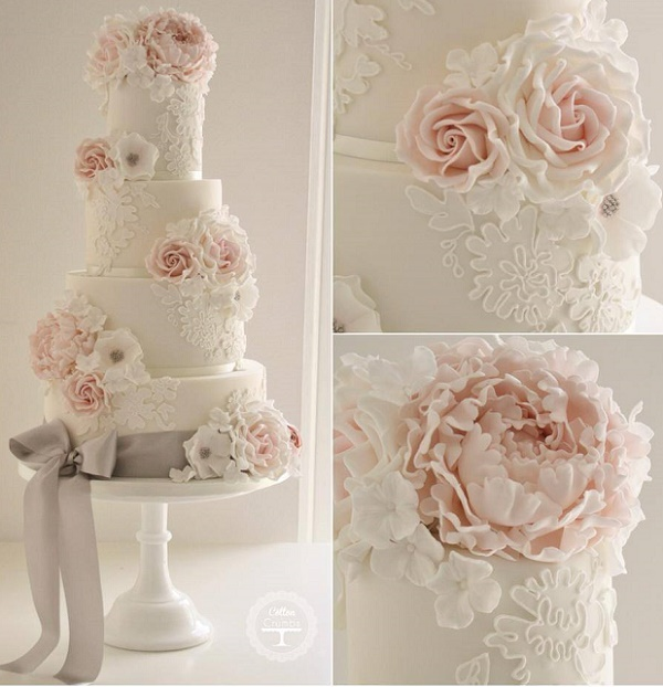 Pink and gray lace wedding cake by Cotton and Crumbs