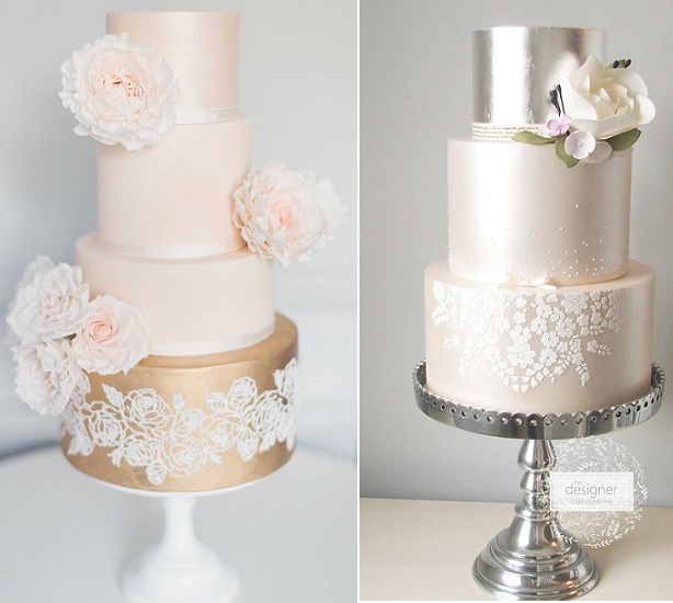 Rose gold and pink wedding cake by Suzanne Esper, Craig & Eva Sanders Phot left, Designer Cake Co right