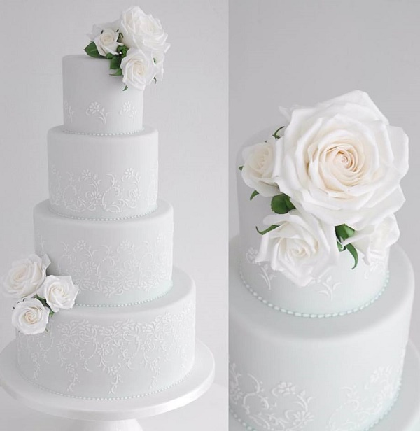 Roses and lace wedding cake by Zoe Clark Cakes