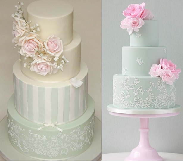 Sage wedding cakes by Petit Gateau Wedding Cakes left, Zoe Clark Cakes right