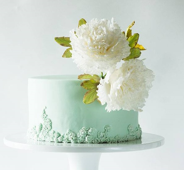 Seafoam green cake with white peonies by Lina Veber Cake