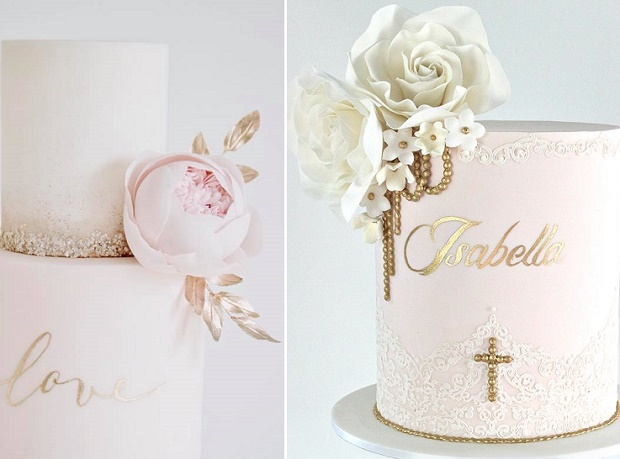 Custom cake calligraphy cakes by Cotton & Crumbs left and Caking It Up right