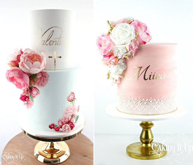 Custom cake calligraphy christening cake and birthday cake by Caking It Up