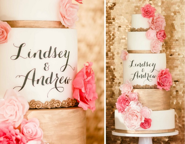 Custom calligraphy wedding cake by Smore Sweets