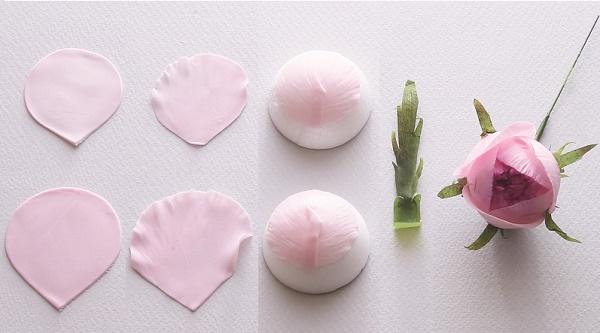 Gumpaste English Rose Tutorial from Sugar Flowers by Naomi Yamamoto, B Dutton Publishing, Takeharu Hioki Photography, 9