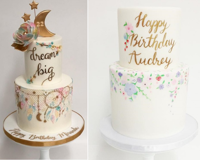 Gold calligraphy birthday cakes by Sweet & Saucy