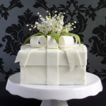 gift box cake with Lily of the Valley flowers