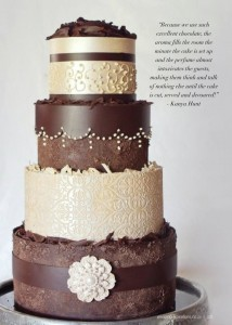 elegant chocolate wedding cake by Kanya Hunt