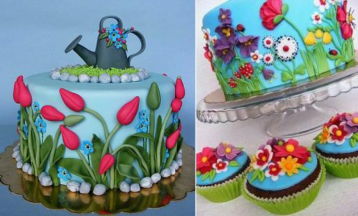 gardening cakes watering can cake from Bubolinkata on Flickr left and garden flowers cake right via Pinterest