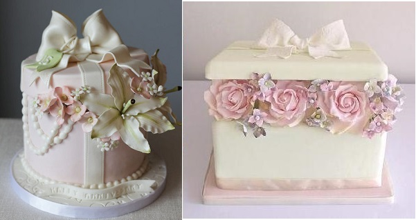 gift box cake with sugar flowers by Harmony Cakes via CakesDecor (left) and from Ruffle Cakes UK right