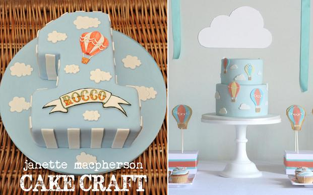 hot air balloon cakes by Janette McPherson Cake Craft left and Peace of Cake Portugal via Kara's Party Ideas