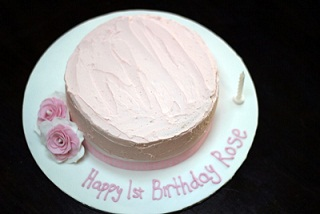 simple pink girl's birthday cake idea in buttercream