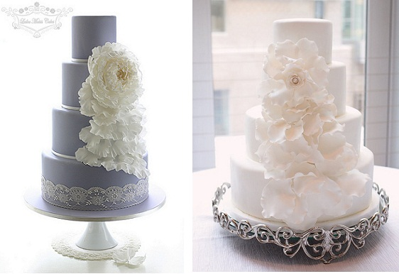 Falling petals wedding cake by Leslea Matsis Cakes NZ on the left and from Wow Factor Cakes via Style Me Pretty .com on right as photoed by Kristin Vining