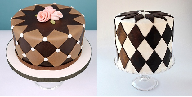 harlequin cake with pink fondant roses by Charm City Cakes and harlequin cake by SugaryWinzy