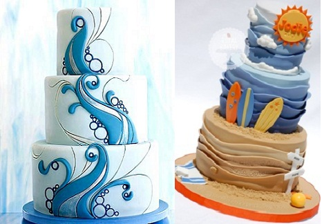 surfer cakes from MarthaStewart Weddings.com (left) and Royal Bakery (Right)