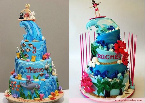 Surfer cakes by Erivana cakes.com and thepinkcake box.com