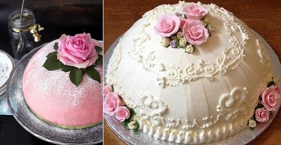 Swedish Princess cakes or dome cakes from Lanka's Cakes right and via Pinterest left