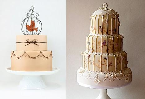bird cage wedding cakes by Eat Cake Be Merry left and by Tartufi Cakes right