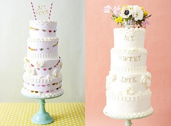 bunting wedding cake and garland wedding cake for village fete themed wedding