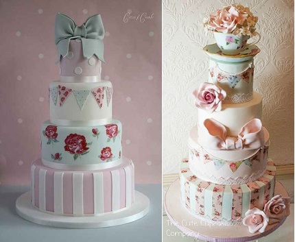 bunting wedding cakes by Cotton & Crumbs left and The Cute Cupcake Company right