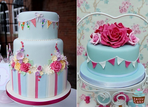 bunting wedding cakes by Sarah Edwards Cakes left and by Jelly Cake UK right