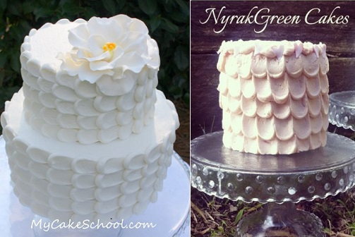 buttercream petal piping tutorial from My Cake School.com.au left and Nyrak Green Cakes right