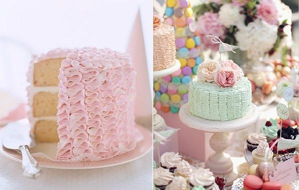 buttercream ruffles cakes via The Tom Kat Studio left and Wedding Chicks right
