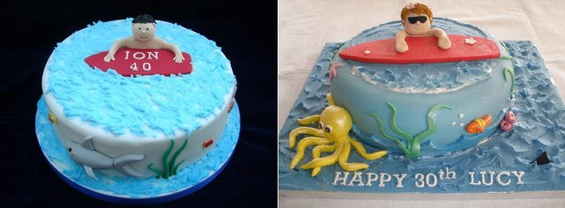 surfer cakes