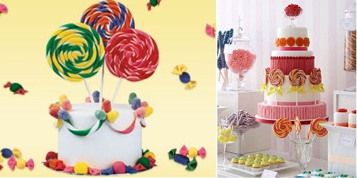 lollipop cake birthday cake one tier from Bake Decorate Celebrate left and Candyland cake with lollipops from The Cake Parlour right