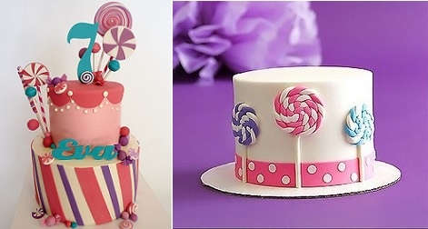 lollipop cake candyland cake by Chocolate Moose Cakes left and lollipop cake with swirly pops from Christina's Dessertery right