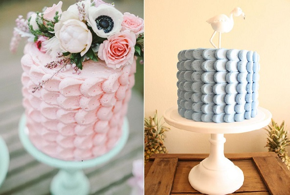petal piping buttercream petal cakes by Blissfully Sweet Cakes by Jacki via Style Me Pretty and by Couture Cupcakes & Cookies via the Amy Atlas blog