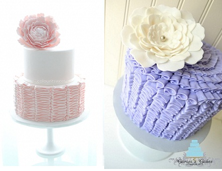 buttercream ruffles cake by Colour It Sweet and purple ruffle buttercream cake by Carisa's Cakes