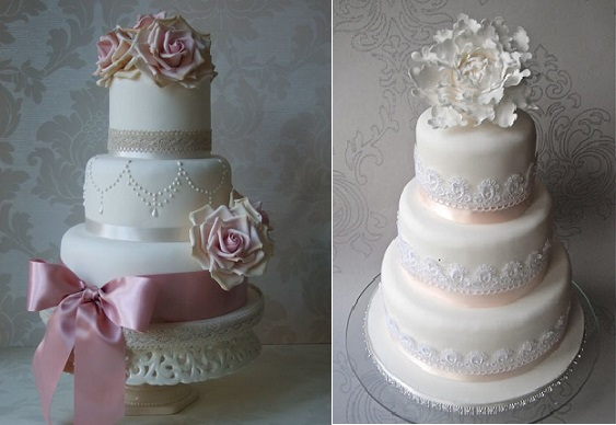 lace wedding cakes by Maki's Cakes (left) and Sugar Ruffles UK (right)
