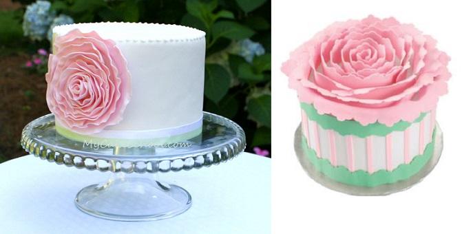 Ruffle rose cake tutorials from MyCake School.com (left) and Wilton (right)