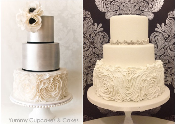 Ruffle rose cakes from Yummy Cupcakes & Cake (Aus) and Cheryl's Cake Boutique (right)