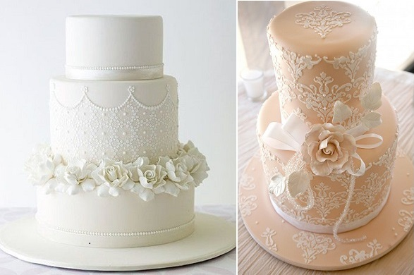 wedding cakes decorated with lace cake stencils by Sweet Art .com.au and Sweet And Simple Cakes com.au