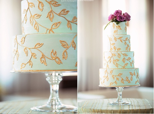 lace piping in gold and mint wedding cake by Honey Crumb Cake Studio, Alante Photography via Style Unveiled