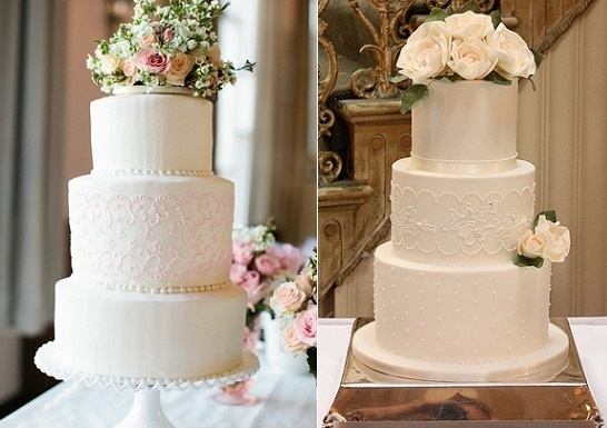 lace piping lace wedding cakes with piped lace band centred on middle tier by Ruth Rickey left and by Cake Ink right