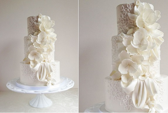 lace piping wedding cake by The Cake Whisperer